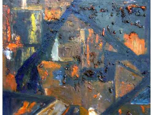 Ground Zero - Oil on rusted steel
