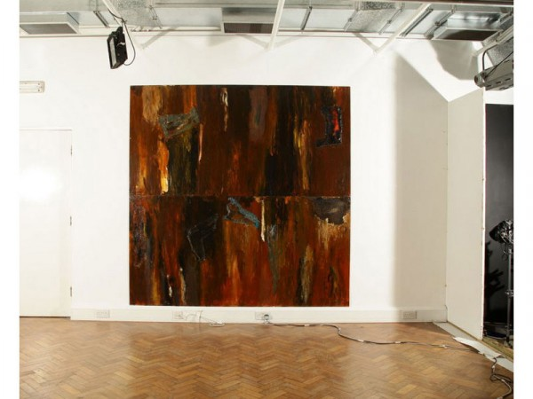 Degree Show: To show perspective and scale; Medium; Acrylic paint, varnish, foil, cardboard and crushed minerals collaged on to hardboard, 2 panels, each 243cm x 122cm, May 2012.