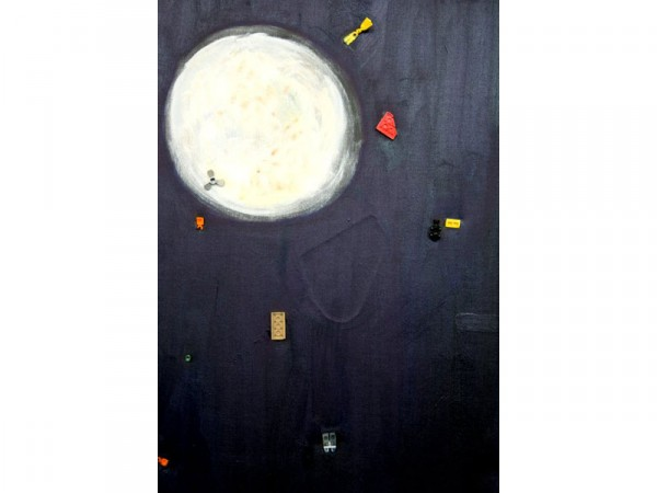 Space Debris (Moon) - oil, lego parts. pva on canvas - 50cm x 35 cm - February 2012