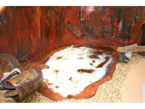 Interim Show: Human Remains - Silo - steel, hardboard, acrylic paint, acids, foodstuffs, found materials, sand and gravel. installation - February 2012