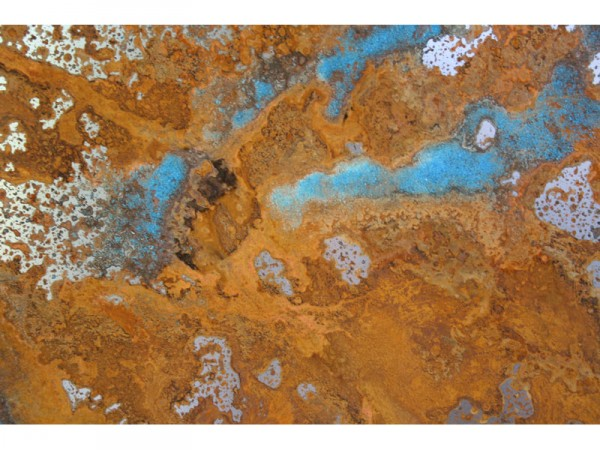 Untitled - rainwater, acids and copper sulphate on 1mm mild steel - 100cm x 50cm - March 2012