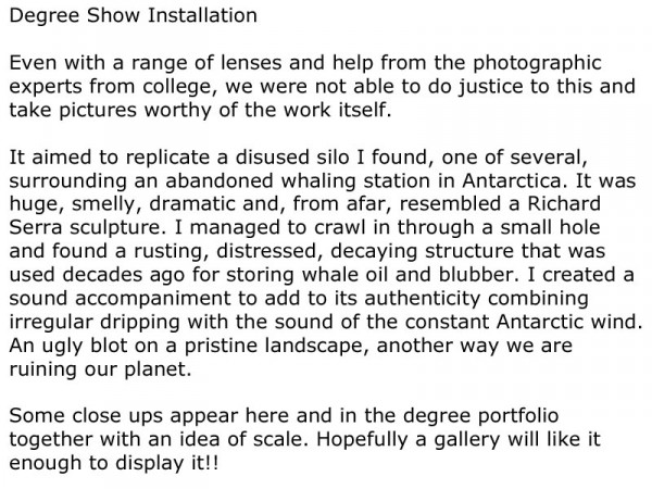 Degree Show Installation