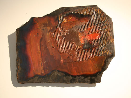 Scorched Earth 3 : Acrylic and mixed media on hardboard with collage, July 2012, 43cm x 35cm approx