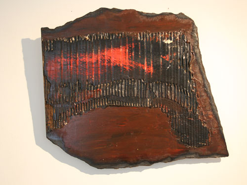 Forest Fire: Acrylic with mixed media on hardboard with collage. July 2012, 43cm x 41 cm approx