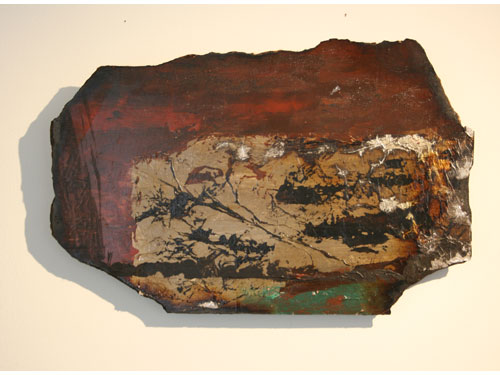 Drying Lake: Acrylic and mixed media on hardboard with silver foil, Aug 2012, 47cm x 30 cm approx.