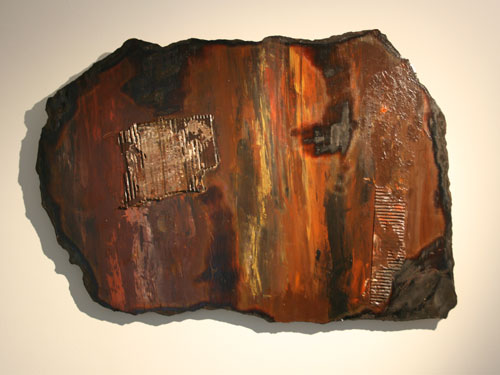 Scorched Earth 4 : Acrylic and mixed media on hardboard with collage. July 2012, 82cm x 56cm approx.