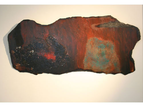 Deliberate Neglect - Acrylic, mixed media, collage and scorching on hardboard - August 2012 - 105cm. x 45cm. approx.