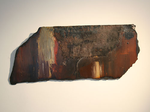 Pesticides' impact - Acrylic, mixed media, collage and scorching on hardboard - August 2012 - 69cm. x 30cm. approx.
