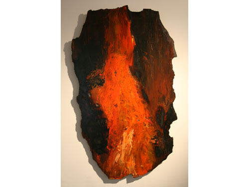 Burning Earth - Acrylic and mixed media on hardboard - June 2012 - 100cm x 58cm approx