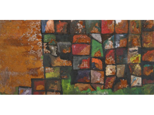 Crushed Automobiles - Oil on Rusted Steel - 50 x 100 cm