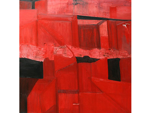 <b>Oppression</b>  </br>75cmx75cm </br>Oil on canvass with collage  </br>£750  </br>Red is for danger. Cell like structures equal imprisonment. The Nuremburg Laws, Apartheid Legislation, the Suppression of Communism Act give false legitimacy.
