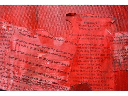 <b>Oppression - close up</b>  </br>75cmx75cm </br>Oil on canvass with collage  </br>£750  </br>Red is for danger. Cell like structures equal imprisonment. The Nuremburg Laws, Apartheid Legislation, the Suppression of Communism Act give false legitimacy.