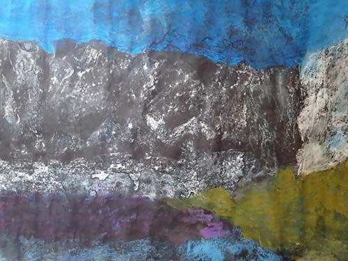 Glacial ending, covered in black volcanic ash, Iceland. Mixed dry media on paper