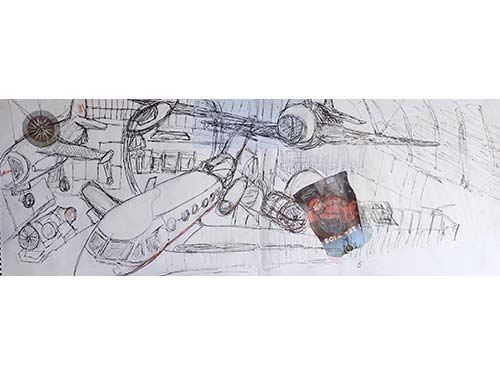 Planes, gliders, engines: Science Museum. Ink, crayon, collage on paper
