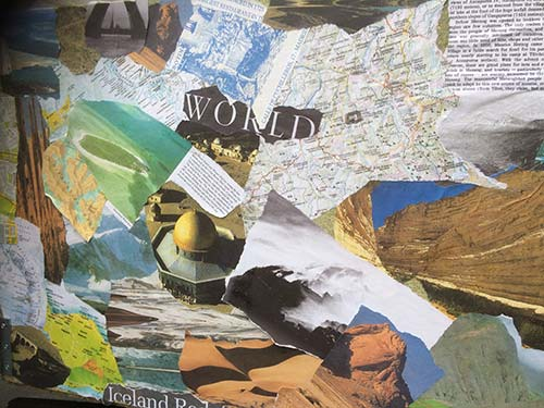 Identity... where I have been: double sided dyptich on board with collaged maps, photos etc