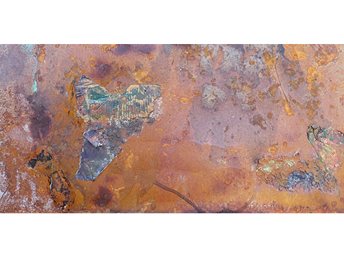 Alien Landscape, household liquids and wine on rusted steel, 100 x 50 cm